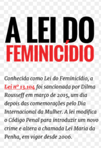 Feminicidio A Lei do Feminicídio