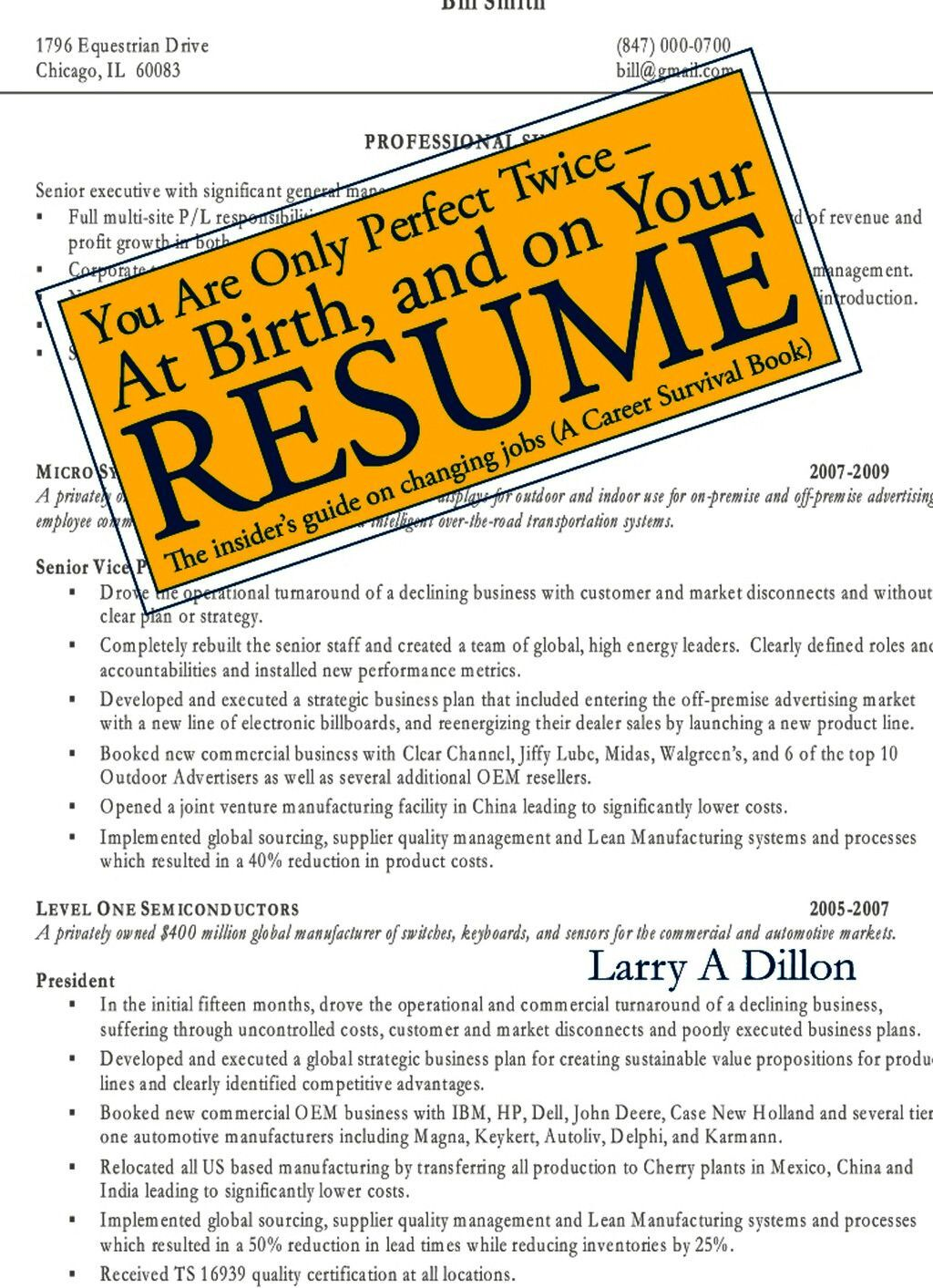 You''re Only Perfect Twice: At Birth And On Your Resume~At Birth And On Your Resume